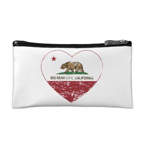 california flag big bear city heart distressed cosmetics bags