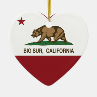 california flag big sur heart ceramic ornament