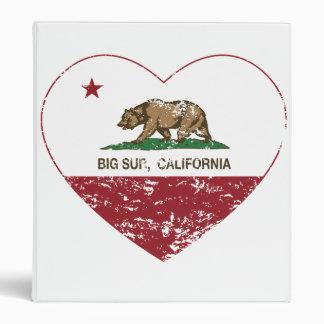 california flag big sur heart distressed binder