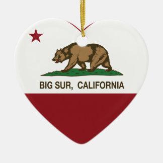 california flag big sur heart Double-Sided heart ceramic christmas ornament