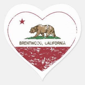 california flag brentwood heart distressed heart sticker