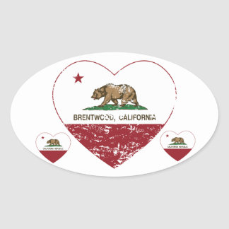 california flag brentwood heart distressed oval sticker