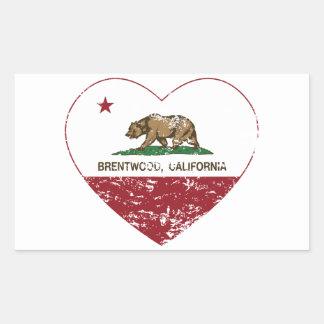 california flag brentwood heart distressed rectangular sticker