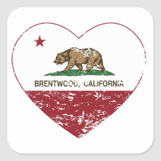 california flag brentwood heart distressed square sticker