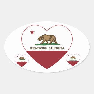 california flag brentwood heart oval sticker
