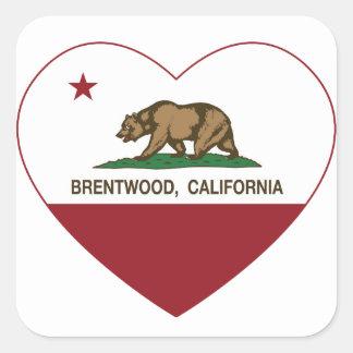 california flag brentwood heart square sticker