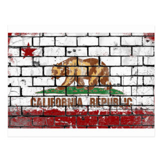 California Flag Brick Wall Grunge Postcard