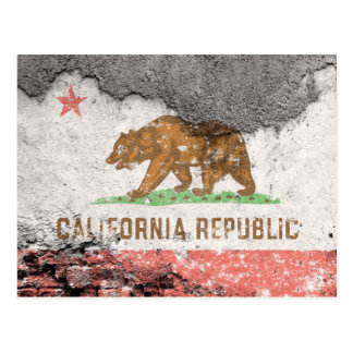 california flag brick wall postcard