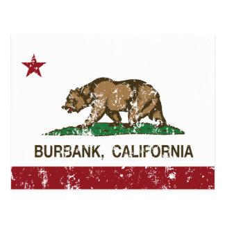 california flag burbank distressed postcard