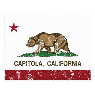 california flag capitola distressed post card