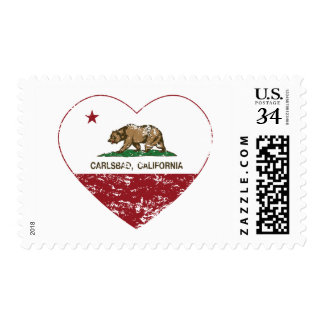 california flag carlsbad heart distressed postage stamp