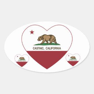 california flag castaic heart oval sticker