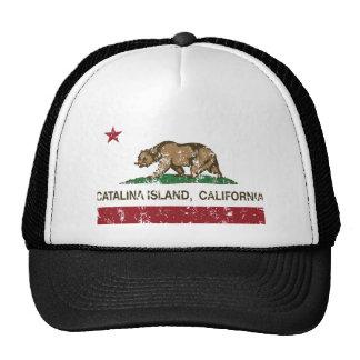 california flag catalina island distressed trucker hat