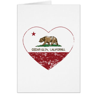california flag cedar glen heart distressed greeting cards