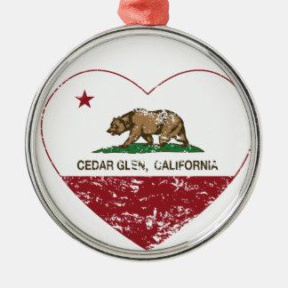 california flag cedar glen heart distressed christmas ornaments