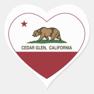 california flag cedar glen heart heart sticker
