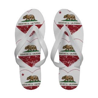 california flag cedar ridge heart distressed flip flops