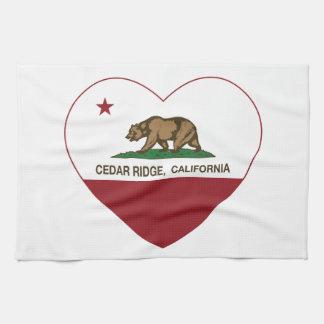 california flag cedar ridge heart hand towels