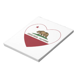 california flag cedar ridge heart memo pads