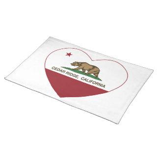 california flag cedar ridge heart placemats