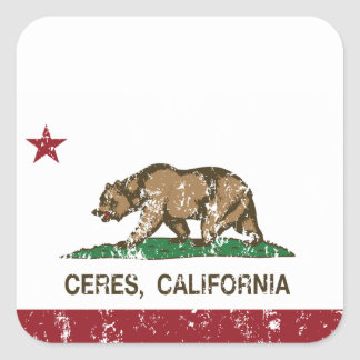 california flag ceres distressed.png square sticker