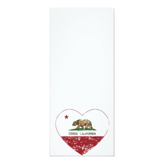 california flag ceres heart distressed card