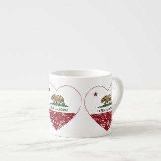 california flag ceres heart distressed espresso cup