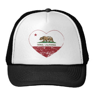 california flag ceres heart distressed trucker hat