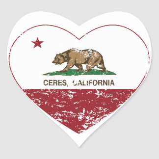 california flag ceres heart distressed heart sticker