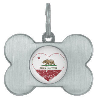 california flag ceres heart distressed pet ID tag