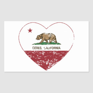california flag ceres heart distressed rectangular sticker