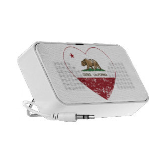 california flag ceres heart distressed iPod speakers