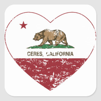 california flag ceres heart distressed square sticker