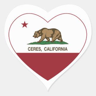 california flag ceres heart heart sticker