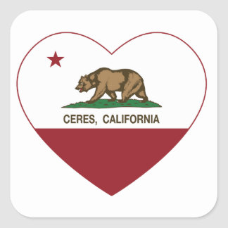 california flag ceres heart square sticker
