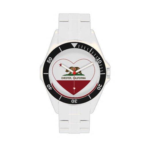 california flag chester heart wrist watches