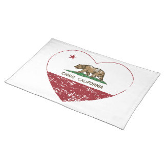 california flag chico heart distressed placemat