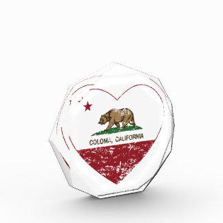 california flag coloma heart distressed award