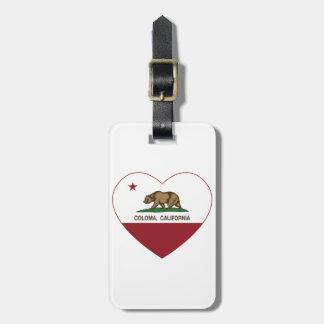 california flag coloma heart bag tag