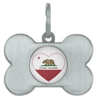 california flag coloma heart pet tag