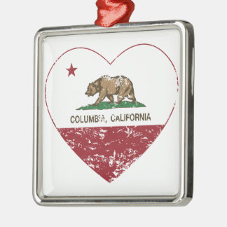 california flag columbia heart distressed square metal christmas ornament