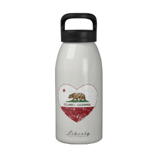 california flag columbia heart distressed reusable water bottle