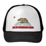 california flag compton distressed trucker hats
