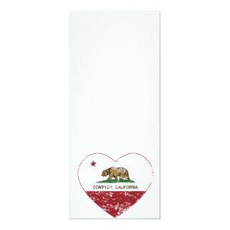 "california flag compton heart distressed 4"" x 9.25"" invitation card"