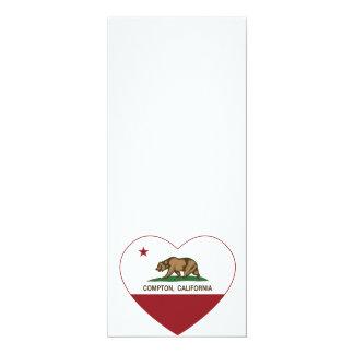 "california flag compton heart 4"" x 9.25"" invitation card"