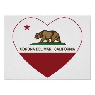 california flag corona del mar heart print