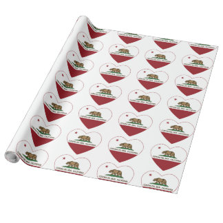 california flag corona del mar heart wrapping paper
