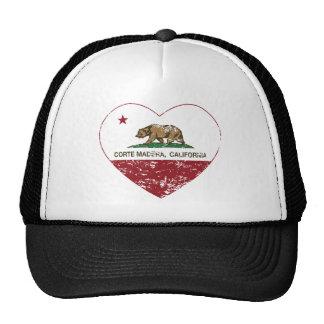 california flag corte madera heart distressed trucker hat