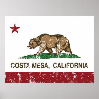 california flag costa mesa distressed posters
