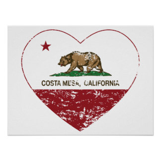 california flag costa mesa heart distressed poster